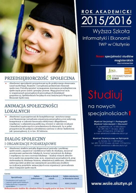 Nowe kierunki na Wyższej Szkole Informatyki i Ekonomii w Olsztynie