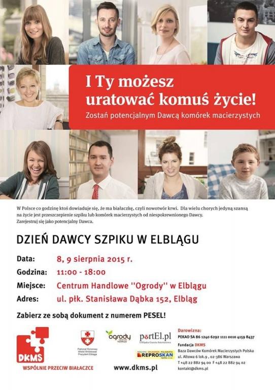 """Elbląg: 8 i 9 sierpnia odbędzie się  """"Dzień Dawcy"""""""