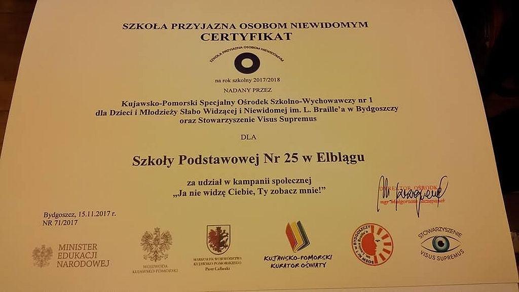 Elbląg: SP 25 szkołą przyjazną osobom niewidomym