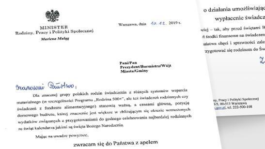 """Minister apeluje o wypłatę """"500+"""" przed Świętami"""
