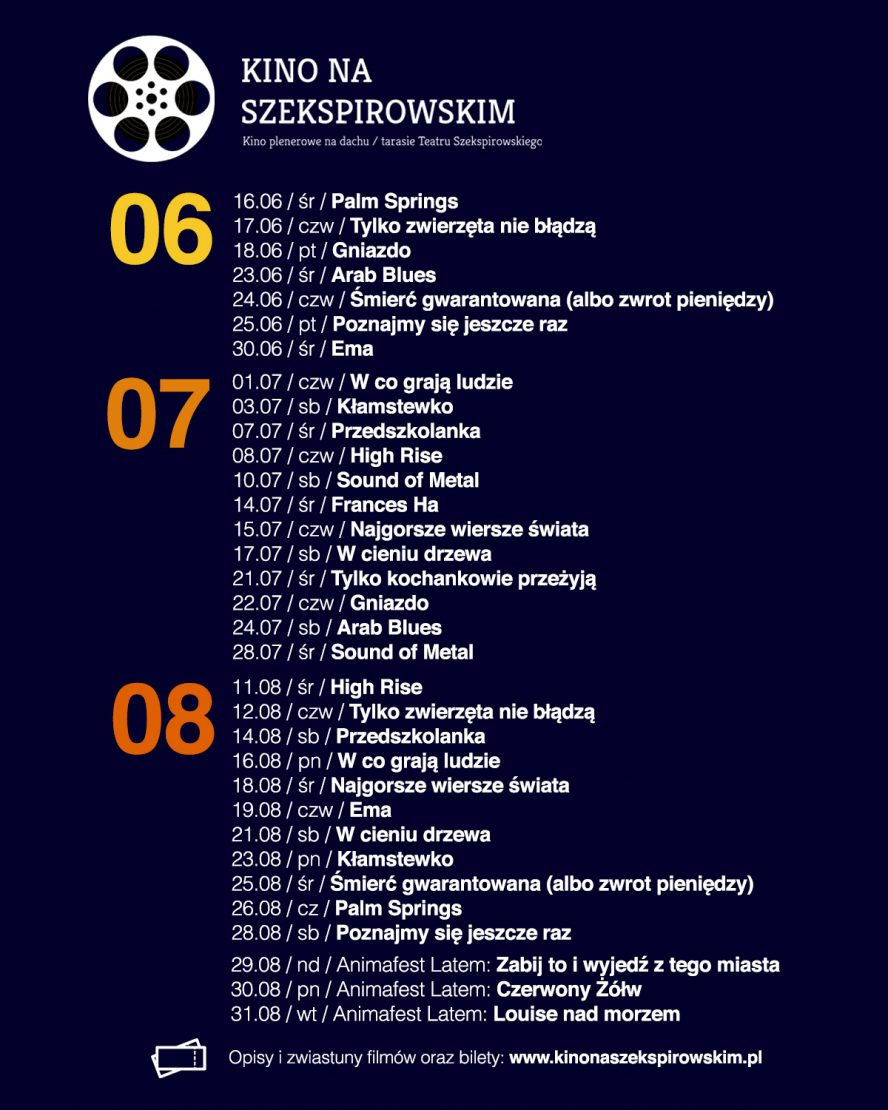 Kino na Szekspirowskim – program pokazów  16.cześr.21:45Palm Springs, reż. Max Barbakow, USA, 2020, 90 min.  17.czeczw.21:45Tylko zwierzęta nie błądzą, reż. Dominik Moll, Francja, Niemcy, 2019, 116 min 18.czept.21:45Gniazdo, reż. Sean Durkin, Kanada, Wlk. Brytania, 2020, 107 min. 23.cześr.21:45Arab Blues, reż. Manele Labidi, Francja, Tunezja, 2019, 88 min. 24.czeczw.21:45Śmierć gwarantowana, reż. Tom Edmunds, Wielka  Brytana, 2018, 90 min. 25.czept.21:45Poznajmy się jeszcze raz, reż. Nicolas Bedos, Francja, 2019, 115 min. 30.cześr.21:45Ema, reż. Pablo Larraín, Chile, 2019, 102 min. 01.lipczw.21:45W co grają ludzie, reż. Jenni Toivoniemi, Finlandia 2020, 117 min. 03.lipsob.21:45Kłamstewko, reż. Lulu Wang, Chiny, USA, 2019, 98 min. 07.lipśr.21:45Przedszkolanka, reż. Sara Colangelo, USA, 96 min. 08.lipczw.21:45High Rise, reż. Ben Wheatley, Belgia, Wielka Brytania, 120 min. 10.lipsob.21:45Sound of Metal, reż. Darius Marder, USA, 2019, 120 min. 14.lipśr.21:45Frances Ha, reż. Noah Baumbach, USA, 2012, 86 min. 15.lipczw.21:45Najgorsze wiersze świata, reż. Gábor Reisz, Węgry, 2018, 97 min. 17.lipsob.21:45W cieniu drzewa, reż. Hafsteinn Gunnar Sigurðsson, Dania, Islandia, 89 min. 21.lipśr.21:45Tylko kochankowie przeżyją, reż. Jim Jarmusch, Francja, Rumunia, 120 min. 22.lipczw.21:45Gniazdo, reż. Sean Durkin, Kanada, Wlk. Brytania, 2020, 107 min. 24.lipsob.21:45Arab Blues, reż. Manele Labidi, Francja, Tunezja, 2019, 88 min. 28.lipśr.21:45Sound of Metal, reż. Darius Marder, USA, 2019, 120 min. 11.sieśr.21:30High Rise, reż. Ben Wheatley, Belgia, Wielka Brytania, 120 min. 12.sieczw.21:30Tylko zwierzęta nie błądzą, reż. Dominik Moll, Francja, Niemcy, 2019, 116 min 14.siesob.21:30Przedszkolanka, reż. Sara Colangelo, USA, 96 min. 16.siepon.21:30W co grają ludzie, reż. Jenni Toivoniemi, Finlandia 2020, 117 min. 18.sieśr.21:30Najgorsze wiersze świata, reż. Gábor Reisz, Węgry, 2018, 97 min. 19.sieczw.21:30Ema, reż. Pablo Larraín, Chile, 2019, 102 min. 21.siesob.21:30W cieniu drzewa, re